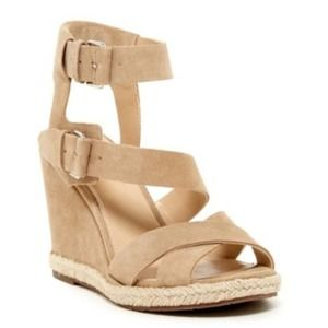 Marc Fisher LTD Karla Wedge Suede Sandal 8M NIB